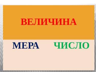 ВЕЛИЧИНА МЕРА ЧИСЛО