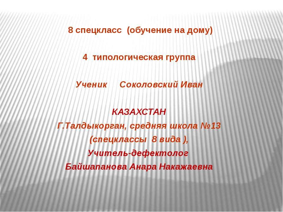 8 спецкласс (обучение на дому) 4 типологическая группа Ученик Соколовский Ива...