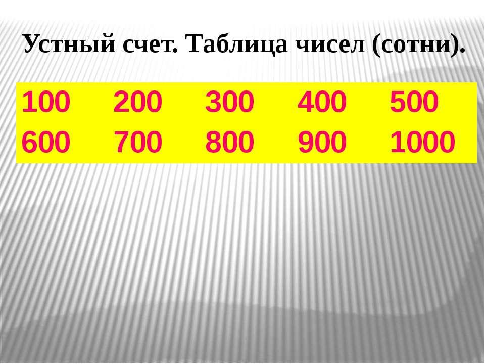 Устный счет. Таблица чисел (сотни). 100 200 300 400 500 600 700 800 900 1000