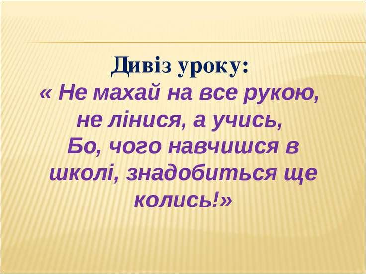 Дивіз уроку: « Не махай на все рукою, не лінися, а учись, Бо, чого навчишся в...