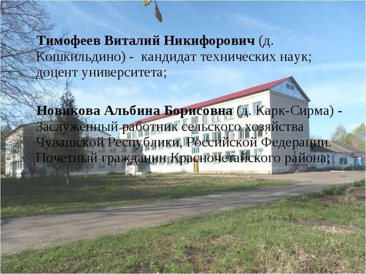 Тимофеев Виталий Никифорович (д. Кошкильдино) - кандидат технических наук; до...