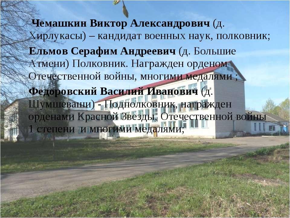 Чемашкин Виктор Александрович (д. Хирлукасы) – кандидат военных наук, полковн...