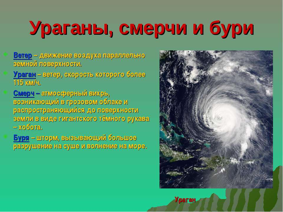 Ураганы, смерчи и бури Ветер – движение воздуха параллельно земной поверхност...