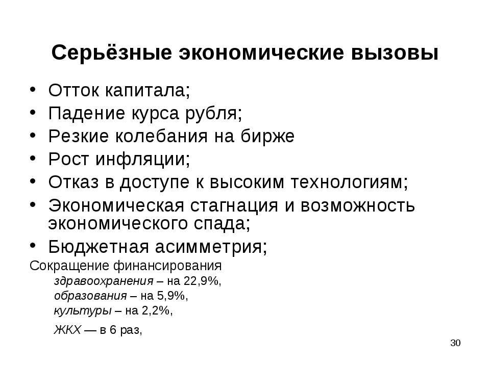 * Серьёзные экономические вызовы Отток капитала; Падение курса рубля; Резкие ...