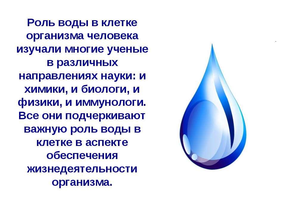 Роль воды в клетке организма человека изучали многие ученые в различных напра...