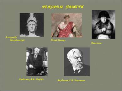 Александр Македонский Юлий Цезарь Наполеон Академик А.Ф. Иоффе Академик С.А. ...