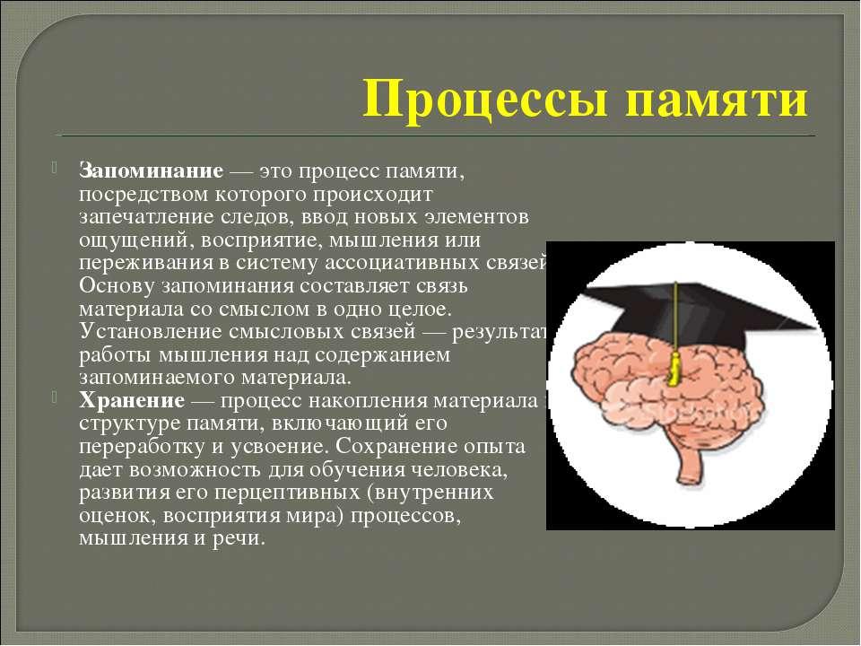 Процессы памяти Запоминание— это процесс памяти, посредством которого происх...