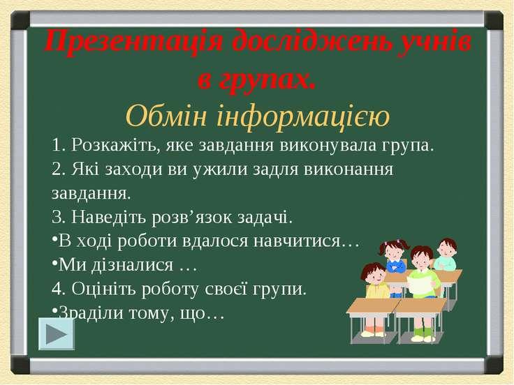 Презентація досліджень учнів в групах. Обмін інформацією 1. Розкажіть, яке за...