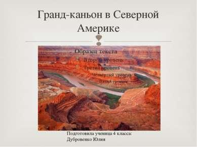 Гранд-каньон в Северной Америке Подготовила ученица 4 класса: Дубровенко Юлия