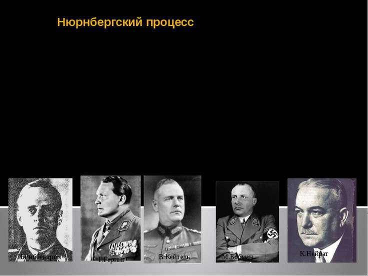 Нюрнбергский процесс Судебный процесс в Нюрнберге в 1945–46 над главными наци...