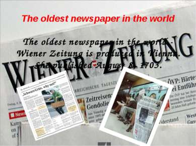 The oldest newspaper in the world The oldest newspaper in the world - Wiener ...