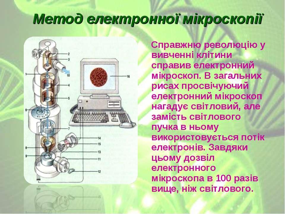Метод електронної мікроскопії Справжню революцію у вивченні клітини справив е...