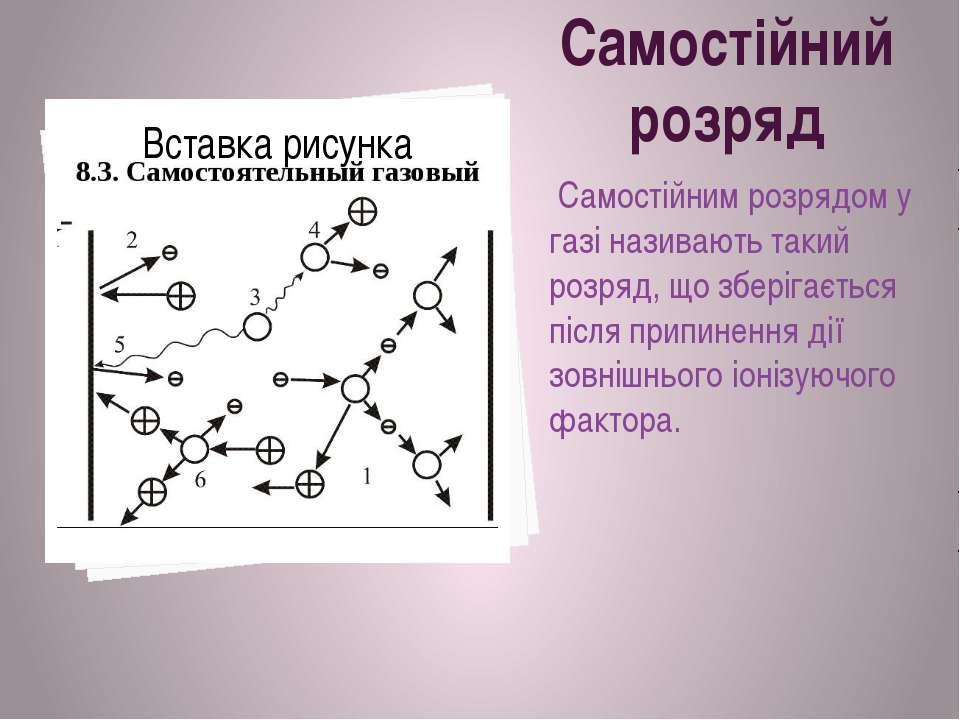 Самостійний розряд Самостійним розрядом у газі називають такий розряд, що збе...