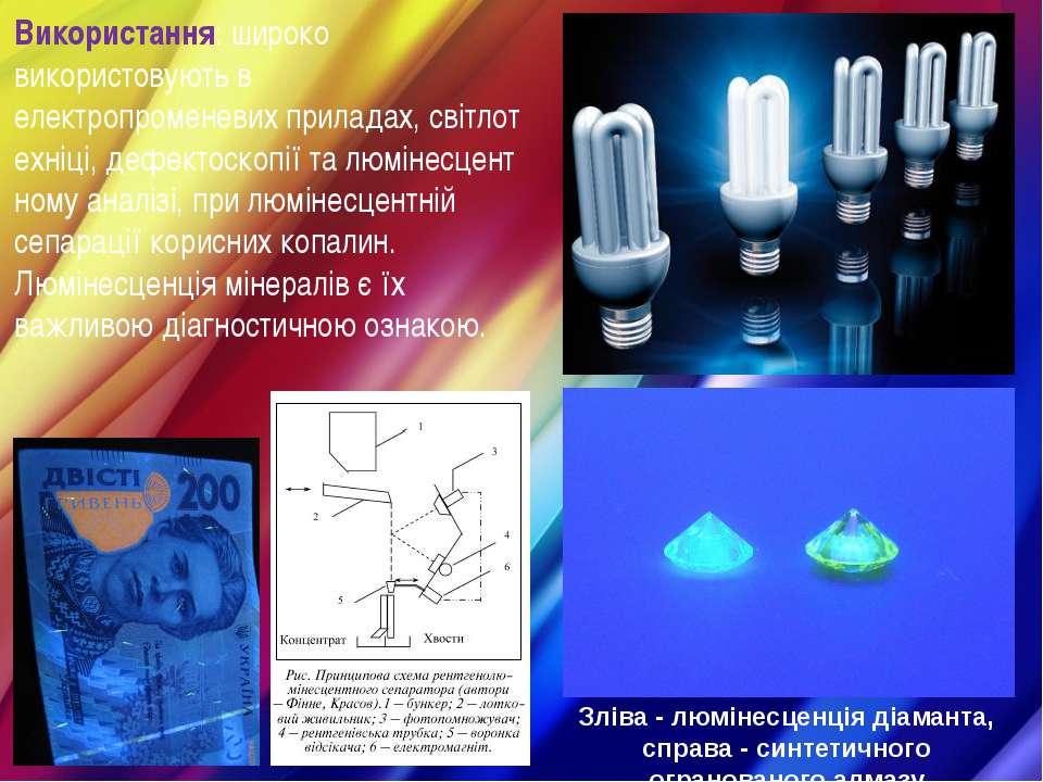 Використання: широко використовують в електропроменевихприладах,світлотехні...
