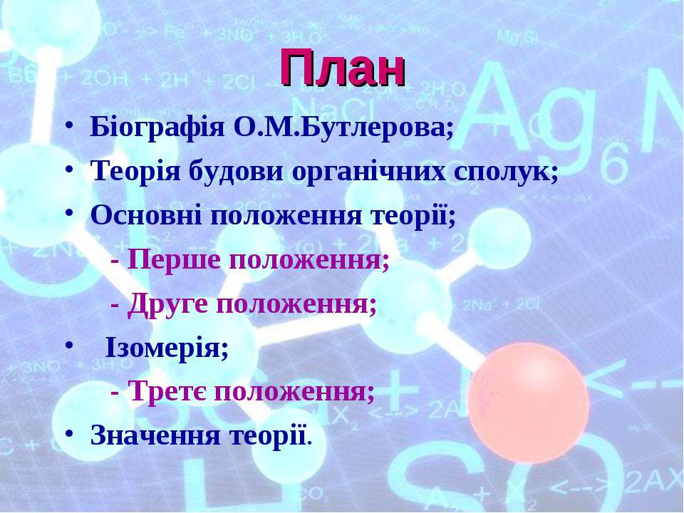 План Біографія О.М.Бутлерова; Теорія будови органічних сполук; Основні положе...