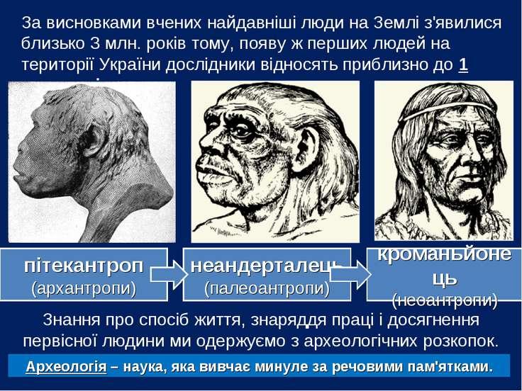 За висновками вчених найдавніші люди на Землі з'явилися близько 3 млн. років ...