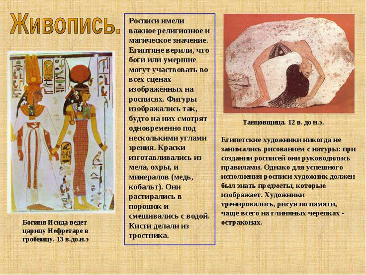 Богиня Исида ведет царицу Нефретаре в гробницу. 13 в.до.н.э Росписи имели важ...