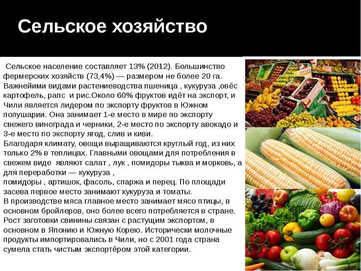Сельское хозяйство Сельское население составляет 13% (2012). Большинство фер...
