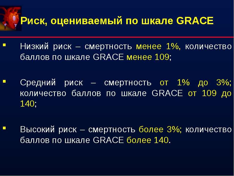 Риск, оцениваемый по шкале GRACE Низкий риск – смертность менее 1%, количеств...
