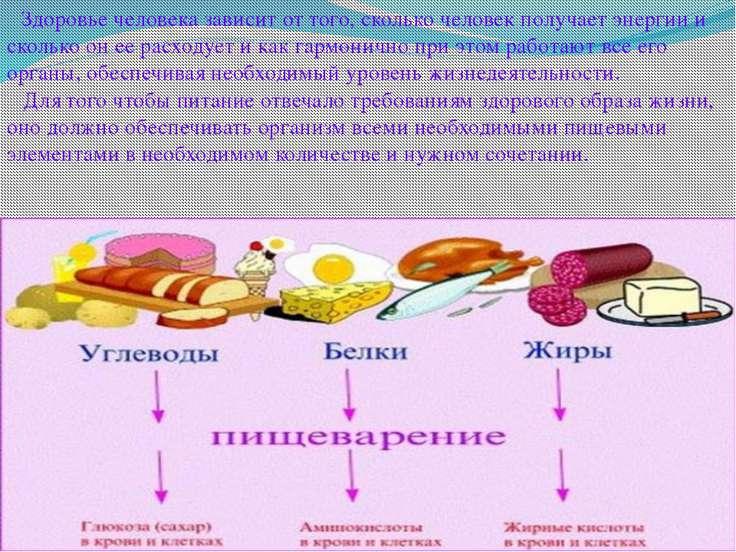 Здоровье человека зависит от того, сколько человек получает энергии и сколько...