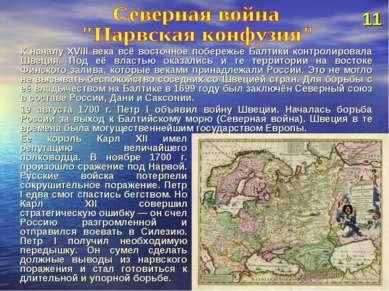 К началу XVIII века всё восточное побережье Балтики контролировала Швеция. По...