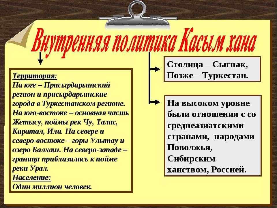 Территория: На юге – Присырдарьинский регион и присырдарьинские города в Турк...