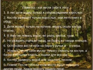 Памятка - как вести себя в лесу. 1. В лес дети ходят только в сопровождении в...