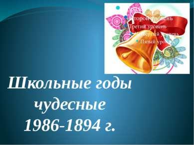 Школьные годы чудесные 1986-1894 г.