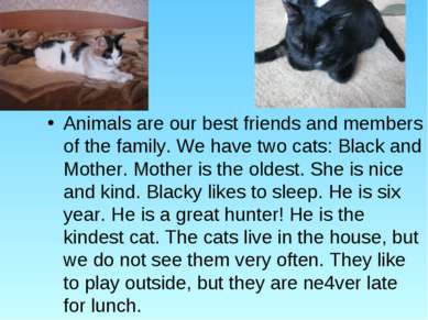 Animals are our best friends and members of the family. We have two cats: Bla...