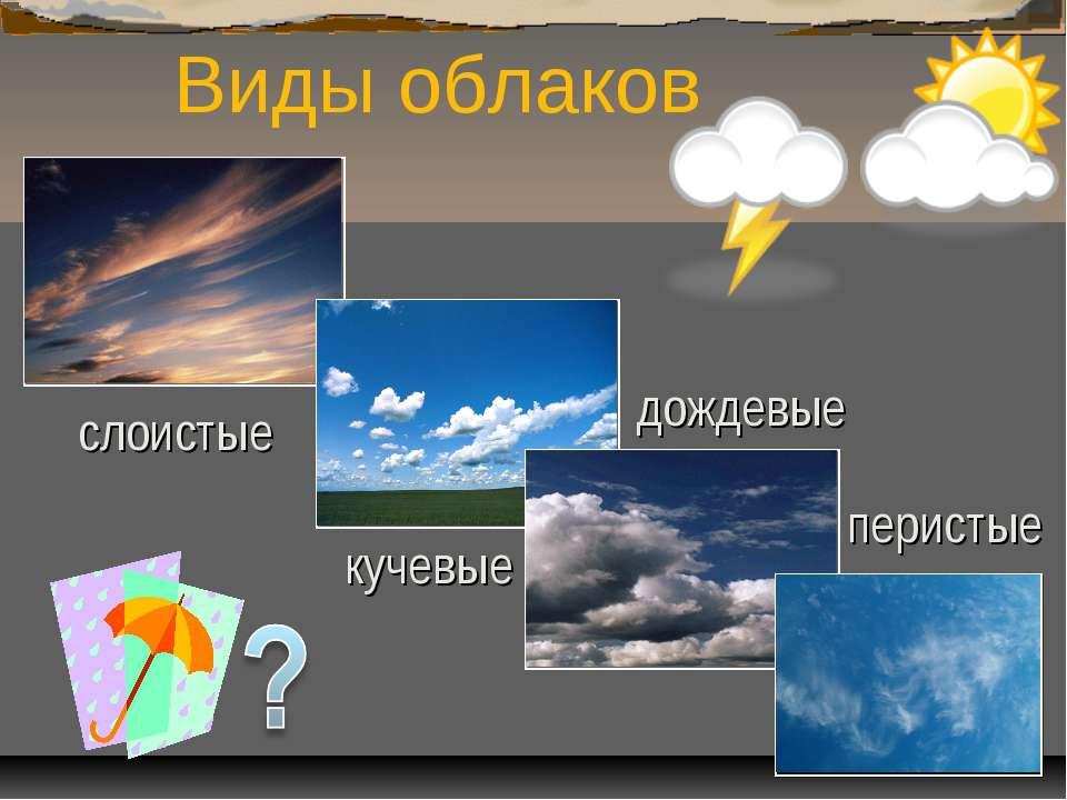 Виды облаков перистые кучевые дождевые слоистые