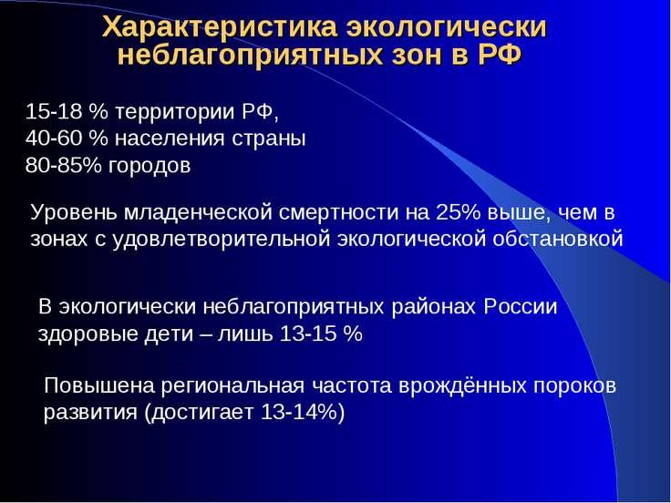 Характеристика экологически неблагоприятных зон в РФ 15-18 % территории РФ, 4...
