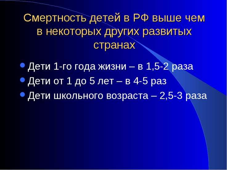 Смертность детей в РФ выше чем в некоторых других развитых странах Дети 1-го ...