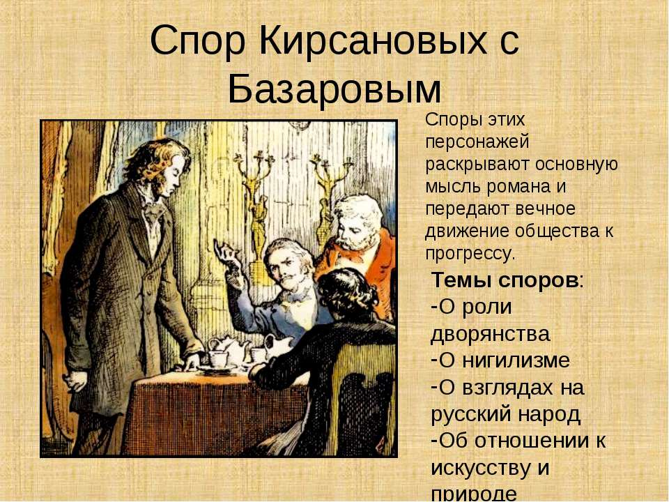 Спор Кирсановых с Базаровым Споры этих персонажей раскрывают основную мысль р...