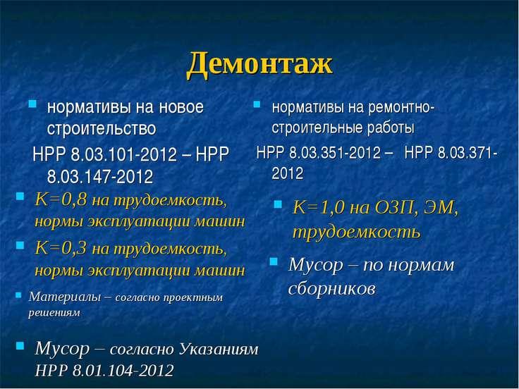 Демонтаж нормативы на новое строительство НРР 8.03.101-2012 – НРР 8.03.147-20...