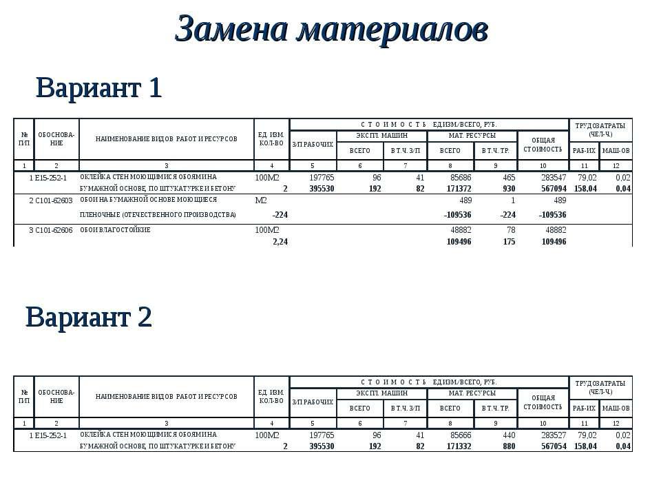 Замена материалов Вариант 1 Вариант 2