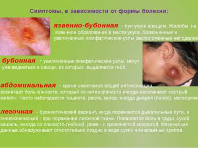 Симптомы, в зависимости от формы болезни: язвенно-бубонная - при укусе клещо...