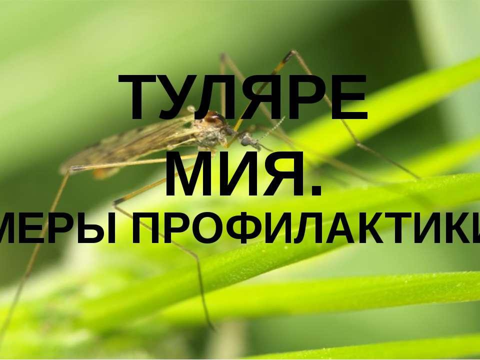 МЕРЫ ПРОФИЛАКТИКИ ТУЛЯРЕМИЯ.