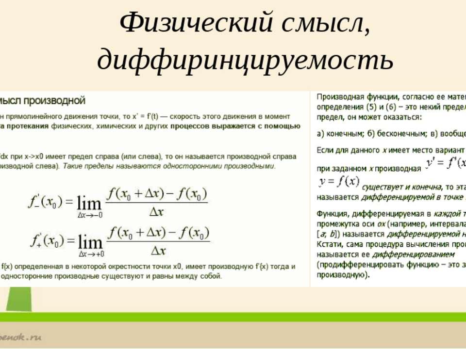 Физический смысл, диффиринцируемость