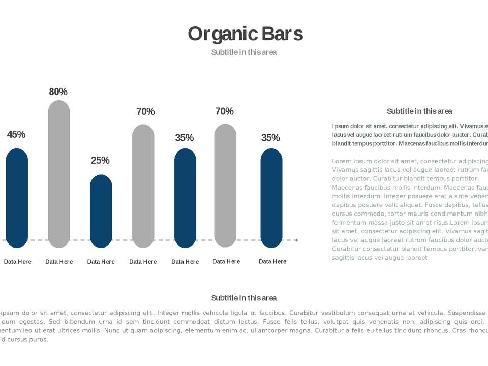 * Organic Bars Subtitle in this area 80% 45% 25% 70% 35% Data Here Data Here ...