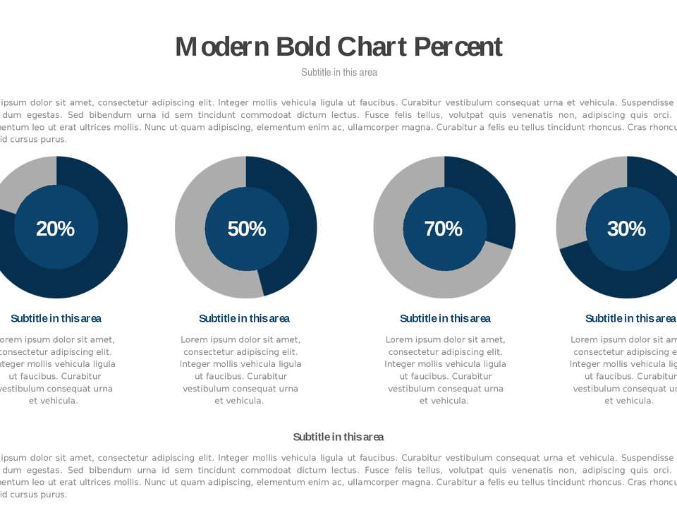 * Modern Bold Chart Percent Subtitle in this area Lorem ipsum dolor sit amet,...