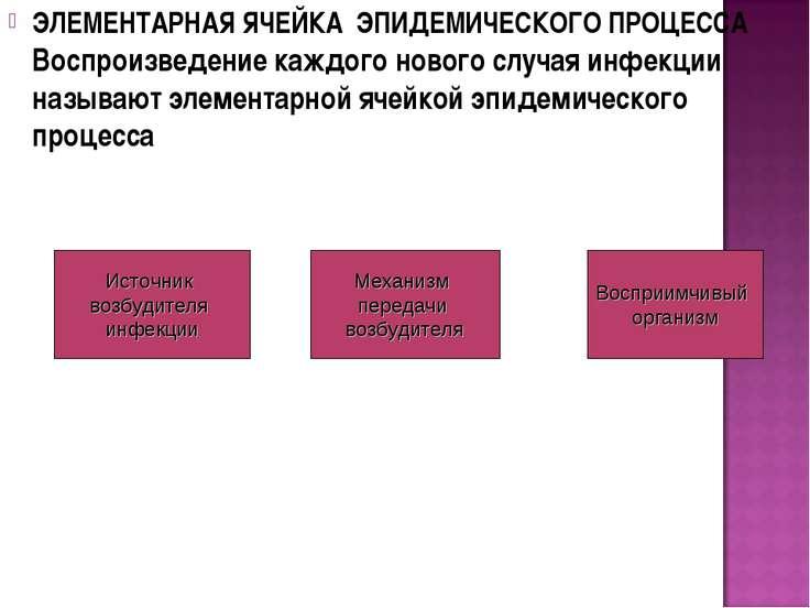 ЭЛЕМЕНТАРНАЯ ЯЧЕЙКА ЭПИДЕМИЧЕСКОГО ПРОЦЕССА Воспроизведение каждого нового сл...