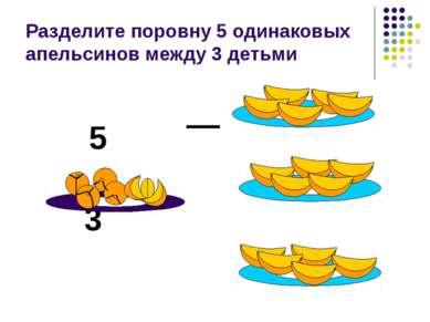 Разделите поровну 5 одинаковых апельсинов между 3 детьми 5 3