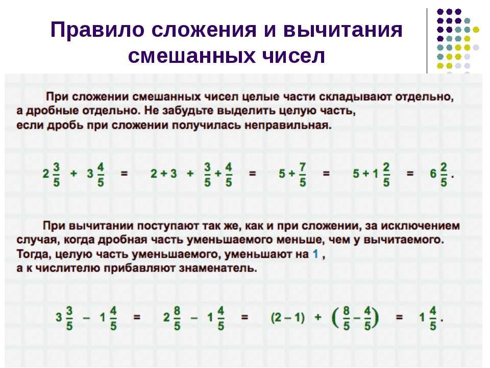 Правило сложения и вычитания смешанных чисел