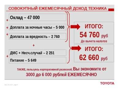 Оклад – 47 000 Доплата за ночные часы – 5 000 Доплата за вредность – 2 760 ДМ...