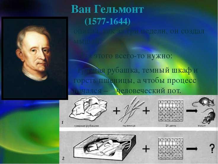Ван Гельмонт (1577-1644) описал, как за три недели, он создал мышей. Для этог...