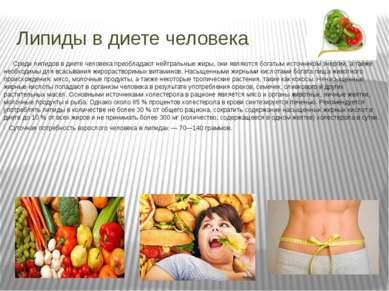 Липиды в диете человека Среди липидов в диете человека преобладают нейтральны...