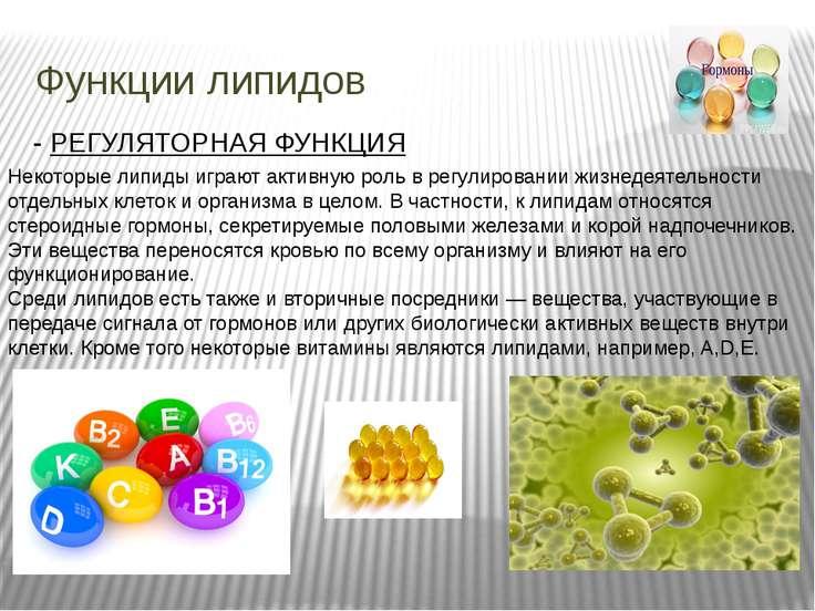Функции липидов - РЕГУЛЯТОРНАЯ ФУНКЦИЯ Некоторые липиды играют активную роль ...