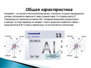Общая характеристика Алюминий— этолегкий ипластичный белый металл. Относит...