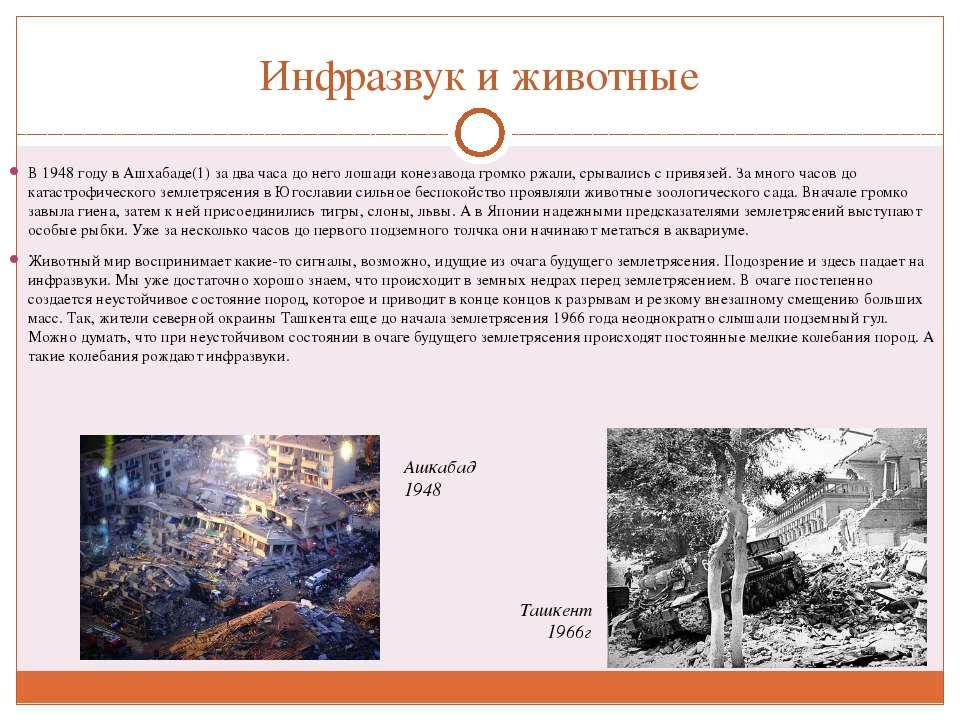 Инфразвук и животные В 1948 году в Ашхабаде(1) за два часа до него лошади кон...