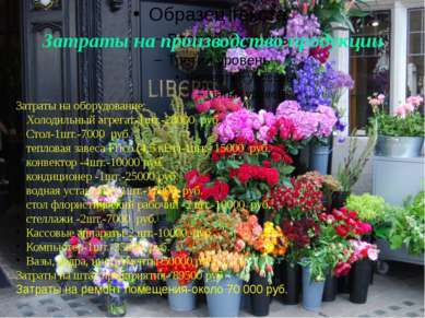 Затраты на производство продукции Затраты на оборудование: Холодильный агрега...